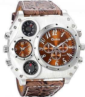Avaner Men's Big Face Unique Military Quartz Three Analog Dails Wrist Watch Stainless-Steel Metal Mesh Clock Durable Sub D...