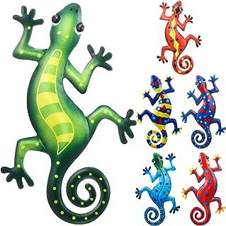 6 Pièces Décoration d'Art Mural de Gecko en Métal Décorations Murales d'Art de Lézard de 9 Pouces Sculpture Inspirante Déc...