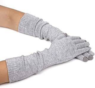 Flammi Women's Winter Cashmere Blend Knit Arm Warmers Gloves with Touch Screen Fingers Warm Long Gloves