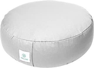 Incline Fit Zafu Yoga Meditation Cushion with Zipper, Round Meditation Pillow Bolster Filled with Buckwheat Hulls with Machine Washable Cotton Cover and Carry Handle