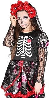 Kids Girls Skeleton Costume Halloween Zombie Bride Cosplay Dress