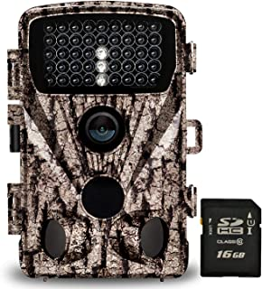"""Foxelli Trail Camera – 20MP 1080P HD Wildlife Scouting Hunting Camera with Motion Activated Night Vision, 120° Wide Angle Lens, 42 IR LEDs & 2.4"""" LCD screen, IP66 Waterproof Game Camera, SD card incl."""