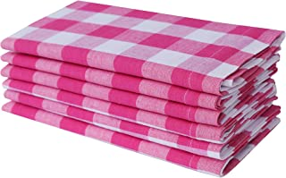 Linen Clubs Pack of 12 Hot Pink-White 100% Cotton Yarn Dyed Gingham Check Dinner Napkins 18x18Inch,Clambake Beach Party Nautical Dinner Napkins as Well Offered