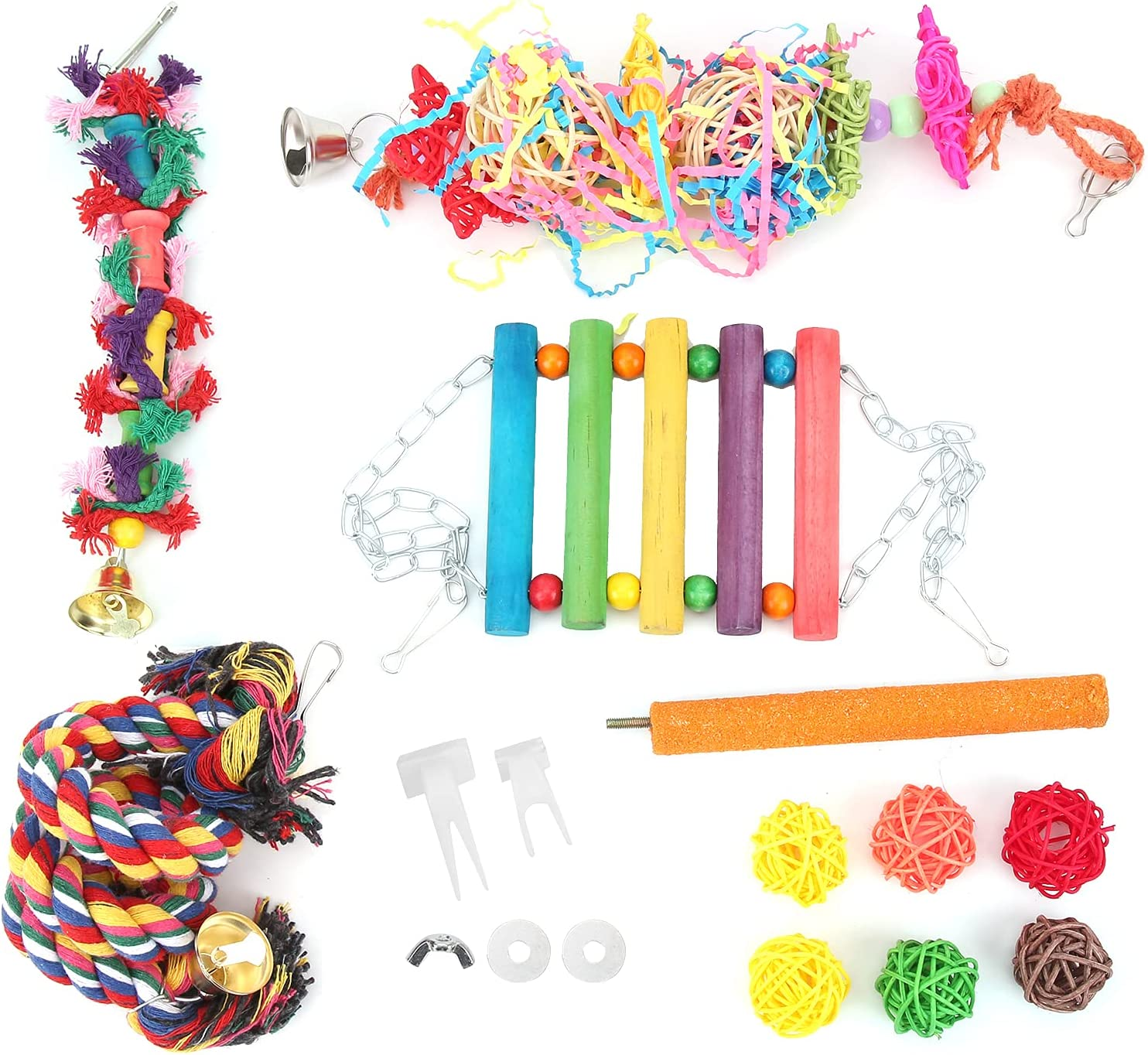 12Pcs Parakeet latest Chewing Toy Colorful Cage Sale Toys Pet Hanging Parrot