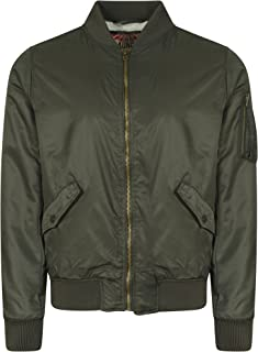 Tokyo Laundry Men's Gwydir Borg Lined Collarless Zip Up Bomber Jacket Size S-XXL