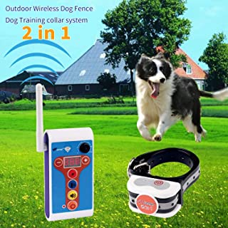 JUSTSTART Wireless Dog Fence Outdoor Electric Training Collar 2 in 1 System, Safe Effective Dog Fence Adjustable Remote Shock Training E-Collar, Rechargeable Waterproof Beep/Vibrate/Shock Collar