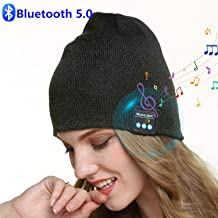 Sminiker Bluetooth Beanie Hat V5.0 Unisex Wireless Bluetooth Hat Headphones Winter Outdoor Sport Knit Cap with Wireless Stereo Headphone Headset Mic Hands Free Compatible with iPhone Android (Gray)