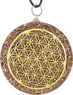 Flower of Life Orgone Pendant, EMF Protection, Powerful Energy Generator, Metatron's Cube Merkaba 7 Chakras Crystals Stones Orgone Pendant, Orgonite Pendant for Healing, Reiki,Protection,Powerful