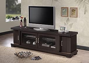 Baxton Studio Wholesale Interiors Viveka Dark Brown Wood TV Cabinet with 2 Glass Doors and 2 Doors, 70