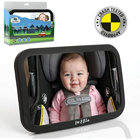 Leo and Ella Baby Car Mirror Safety First, Certified Crash Tested for Rear Facing Baby Car Seat Shatterproof Mirror with Adjustable Safety Mount Crystal Clear View of Newborn