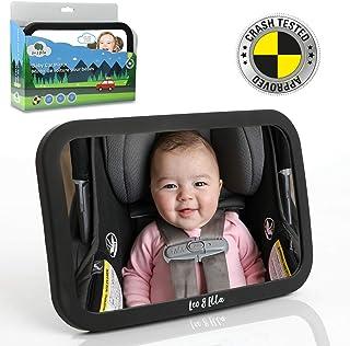 آینه اتومبیل کودک لئو و الا | تست تصادف | آینه ضد آب بزرگ با قابلیت تنظیم ایمنی کوه | پایان مات مات | نمای شفاف کریستال از نوزاد در مواجه با صندلی عقب اتومبیل | 100٪