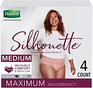 Depend Silhouette Incontinence and Postpartum Underwear for Women, Maximum Absorbency, Disposable, Medium, Pink/Black/Tea...