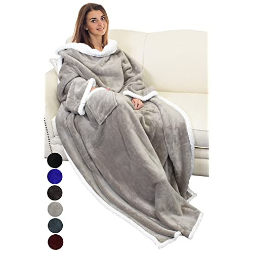 Catalonia Sherpa Wearable Blanket with Sleeves Arms 8a2745701