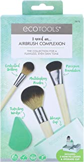 EcoTools Airbrush Complexion Kit, Includes 1 Makeup Wedge, 4 Brushes, 3 Beauty Look Cards, and Convenient Storage Cup, Full Face-Perfecting Makeup Brush Set