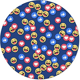 wanxinfu Modern Round Area Rugs 6'(72 inches) Diameter, Ins Expression Smiley Face Thumb Up - Indoor Floor Mat Accent Carpet Compatible Bedroom Living Room Children Playroom