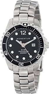 Women's Quartz Watch | M1 Mini by Momentum| Stainless Steel Watches for Women | Dive Watch with Japanese Movement & Analog Display | Water Resistant ladies watch with Date -Black/Black Steel