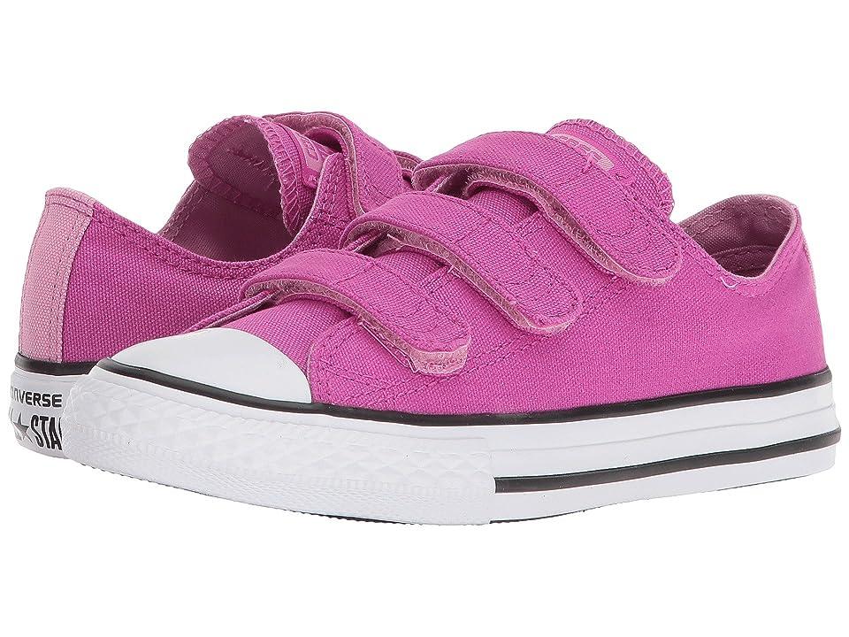 Converse Kids Chuck Taylor All Star 3V Ox (Little Kid/Big Kid) (Hyper Magenta/Light Orchid/White) Girls Shoes