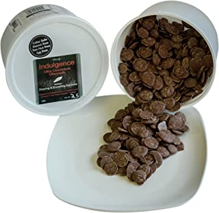Chocoley Milk Couverture Chocolate - 5 lbs - Indulgence Ultra Couverture Chocolate for Dipping and Enrobing - 2 x 2.5 Pound Tubs of Couverture Chocolate - Milk