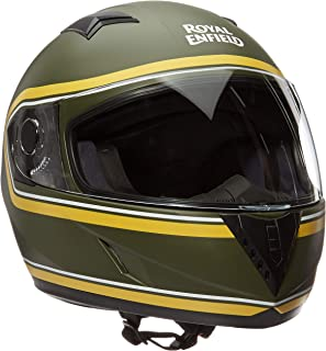 Royal Enfield Battle Green & Yellow Full Face With Visor Helmet Size (XL)62 CM (RRGHEK000006)(Multicolor)