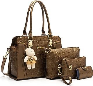 Modische Damen-Handtaschen, Tragetaschen, Schultertaschen, Top-Griff, Umhängetasche, Geldbörsen-Set, 4 Stück