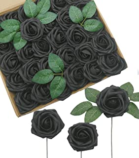 D-Seven Artificial Flowers 30PCS Real Looking Fake Roses with Stem for DIY Wedding Bouquets Centerpieces Party Baby Shower Home Decorations (Black)