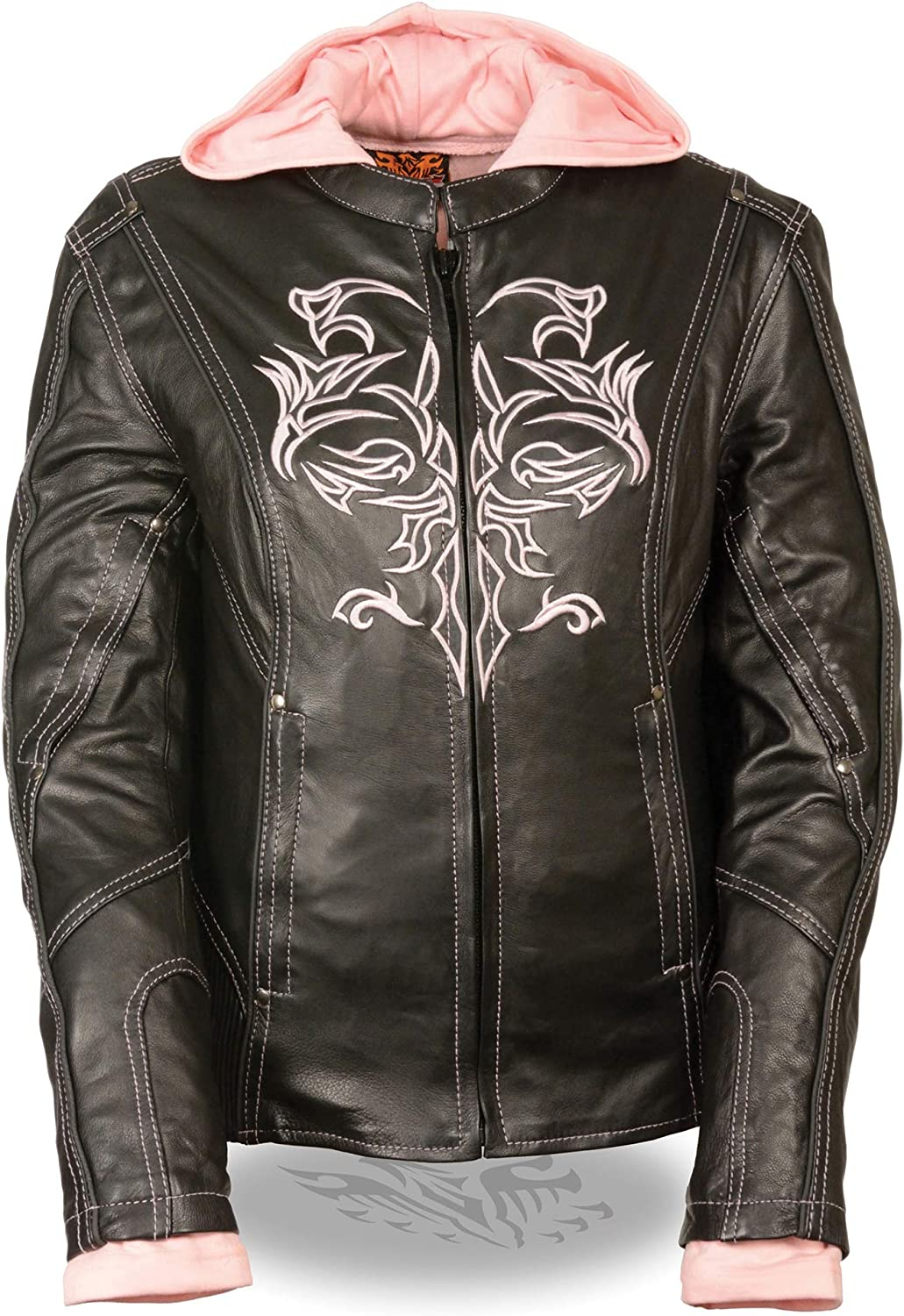 Womens 3 4 Length Leather Jacket Reflective Tribal Detail