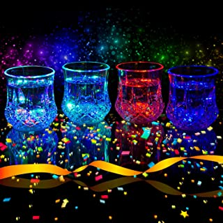 Liquid Activated Multicolor LED Glasses ~ Fun Light Up Drinking Tumblers - 6 oz. - Set of 4