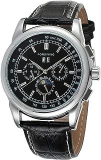 Forsining Men's Fantastic Automatic Luxury Brand Black Genuine Leather Strap Analog Moon Phase Watch FSG319M3S1