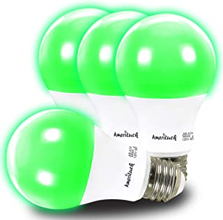 AmeriLuck Green Colored A19 LED Light Bulb, 60W Equivalent (7W), E26 Medium Scew Base, 2-Year Warranty (4 Pack)