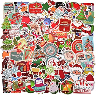 100 Pieces Vinyl Waterproof Stickers,Christmas Theme Stickers for Windows, Bedroom, Wall Decals,Laptop, Luggage, Mirror, Laptop, notebooks, Luggage, Skateboard, Bicycle, car, Guitar, Keyboard