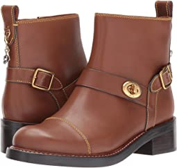 COACH Moto Bootie,Dark Saddle Leather