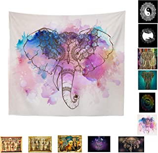 Sivaha 1pc Elephant Tapestry Wall Hanging,Tapestry Pink Mandala Tapestry Wall Tapestry Psychedelic Hippie Bohemian Tapestry Watercolor Colorful Elephant for Dorms Decor 51