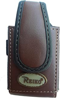 Brown Leather 3 inch Tall Magnetic case fits The Home&Wellness Belle+ Medical Alert Device
