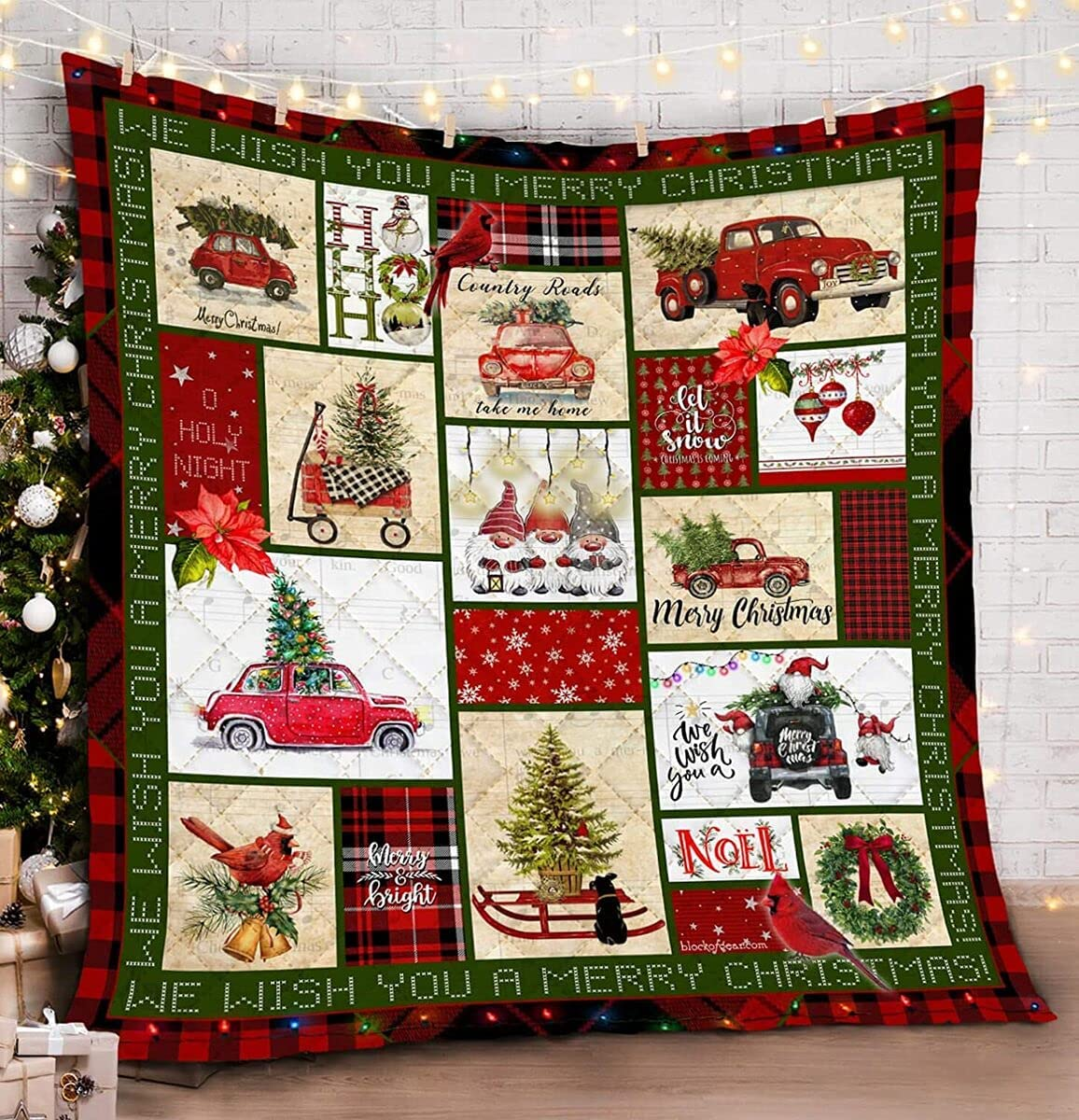 Personalized Pickup Truck Merry Dealing full price reduction Halloween overseas Christmas Quilt Decora