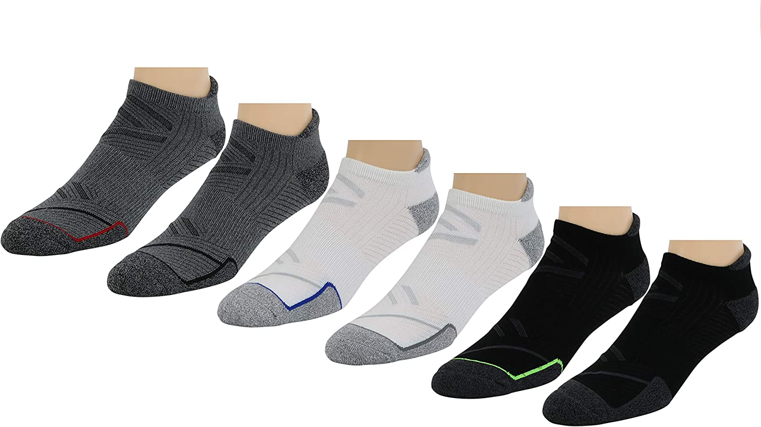 Sofsole Men's Bamboo Performance No-Show With Heel Tab Socks, Size 8-12.5, 3 Colors, 6-Pairs