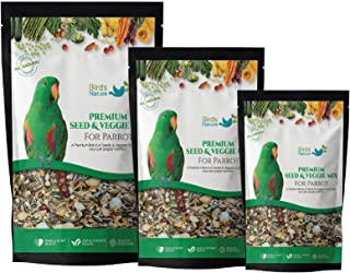 BirdsNature Seed & Veggie Mix for African Greys Parrot, Senegals, Amazons, Electus, Small Cockatoos, Conures, Caiques & Ex...
