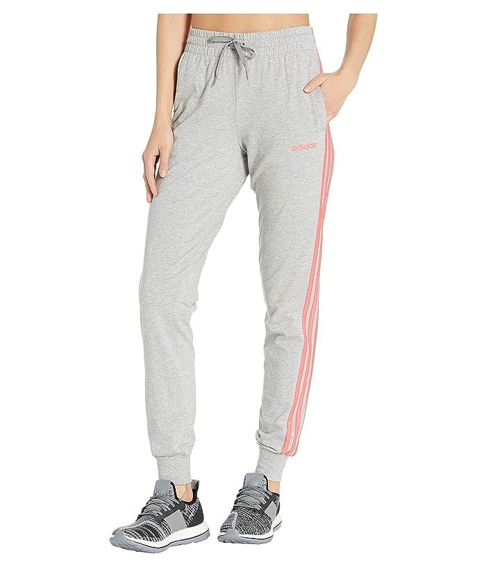 adidas Essential 3-Stripes Jogger (Medium Grey Heather/Prism Pink) Women