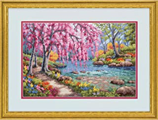 Dimensions 70-35374 Cherry Blossom Creek Gold Collection Cross Stitch Kit, 16 Count Light Blue Aida Cloth, 10