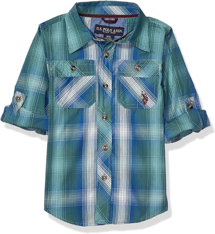 U.S. Polo Assn. Boys' Long Sleeve Plaid Woven Shirt