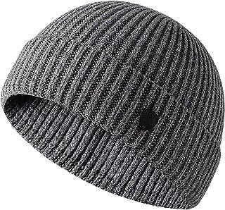 H HOME-MART Knit Trawler Beanie Hat, Roll-up Edge Skullcap Fisherman Beanie for Men Women(Grey)