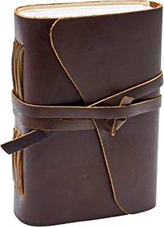 """Handmade Leatherbound Writing Journal - Portable 7"""" x 5"""" Travelers Notebook with Canvas Bag and Bonus Journaling E-Book - 100% Eco-Friendly Unlined Paper - Leather Anniversary Gifts for Him and Her"""