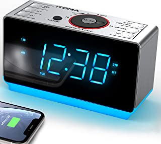iTOMA - Despertador Digital con Radio y Bluetooth, Radio FM, Alarma Dual con repetición de Alarma, regulador de Intensidad...