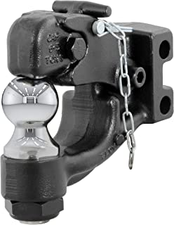 CURT 45919 Channel-Mount Pintle Hitch with 2-Inch Trailer Hitch Ball, 10,000 lbs. GTW, Fits 2-1/2-Inch or 3-Inch Lunette Ring, Channel Mount Required