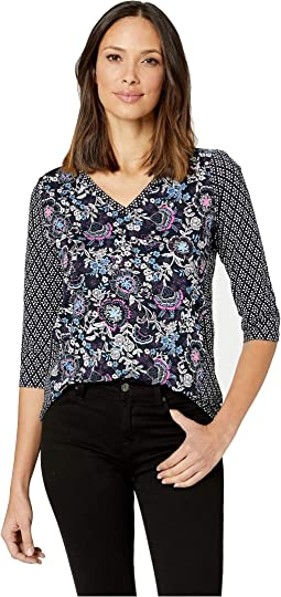 Printed Jersey 3/4 Sleeve V-Neck Top