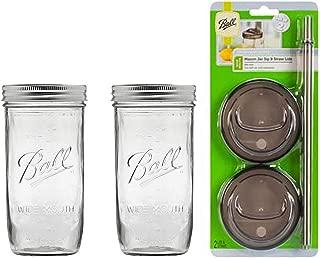2 Glass Mason Drinking Jars with 2 Sip and Straw Lids (2, 24oz Jar)