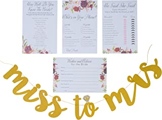 Floral Bridal Shower Games pack with Miss to Mrs Banner and Gold Dots | 4 Games including Wedding Advice Cards What's On Your Phone, He Said She Said, How Well Do You Know The Bride,50 Sheets each