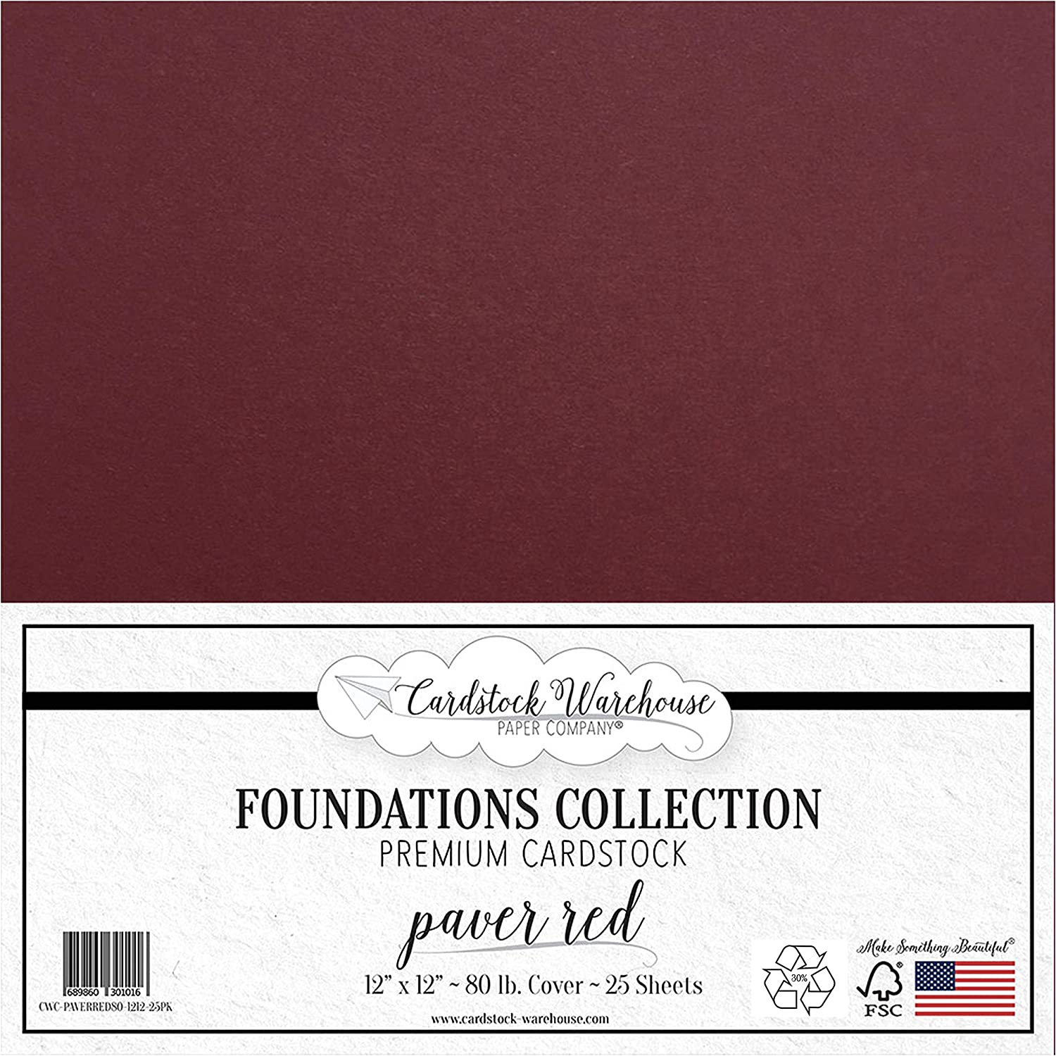 Recycled White Cardstock Paper 25 Sheets from Cardstock Warehouse Cover from 12 x 12 inch Premium 80 LB