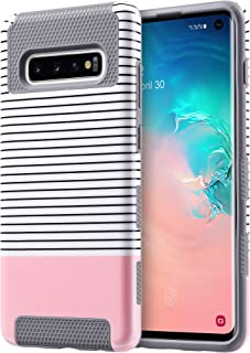 ULAK S10 case, Galaxy S10 case (2019), Stylish Slim Fit Hybrid Dual Layer Protective Flexible Shock Absorbing TPU Bumper Phone Cover for Samsung Galaxy S10 6.1 inch, Rose Gold/Black Stripes