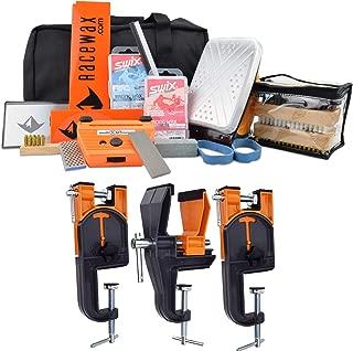 RaceWax Complete Ski Wax Tuning Kit Plus Ski Vise (Accepts Snowboard Adapter)