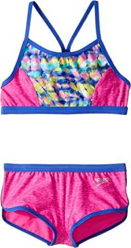 Digi Zigzag Heather Two-Piece Boyshorts Swimsuit Set (Big Kids)